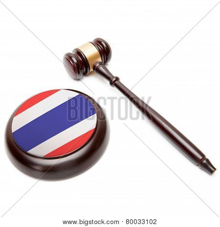 Judge Gavel And Soundboard With National Flag On It - Thailand