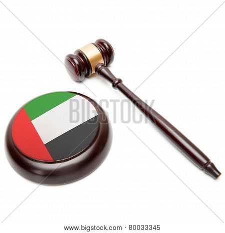 Judge Gavel And Soundboard With National Flag On It - United Arab Emirates