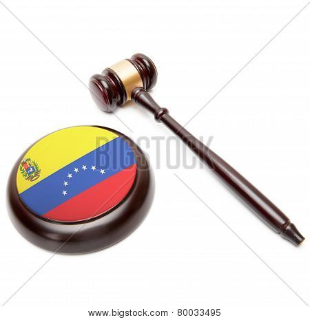 Judge Gavel And Soundboard With National Flag On It - Venezuela