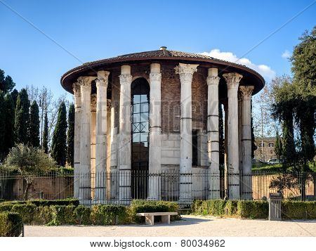 The Temple Of Hercules Victor  In The Area Of The Forum Boarium, Rome