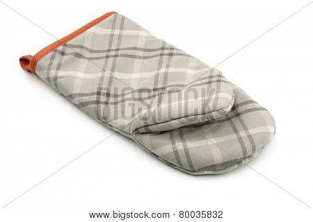Grey oven mitt isolated on white