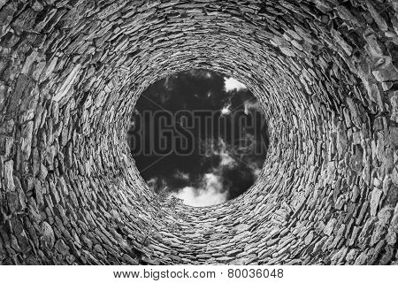 Inside Of Old Industrial Chimney, Bw