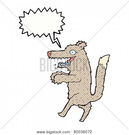 cartoon big bad wolf with speech bubble