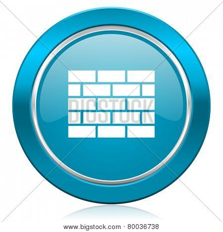 firewall blue icon brick wall sign