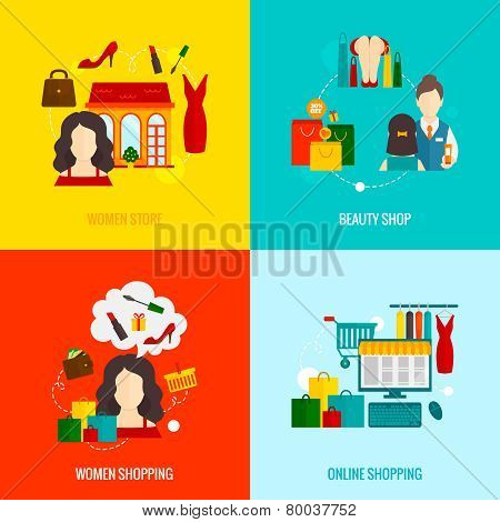 Woman Shopping Flat