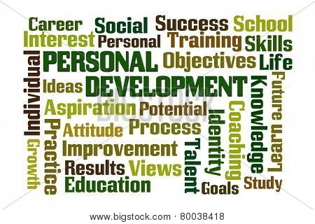 Personal Development word cloud on white background