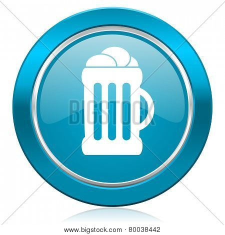 beer blue icon mug sign