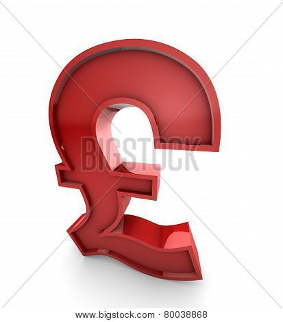 Red Brittish Pound Sterling Symbol