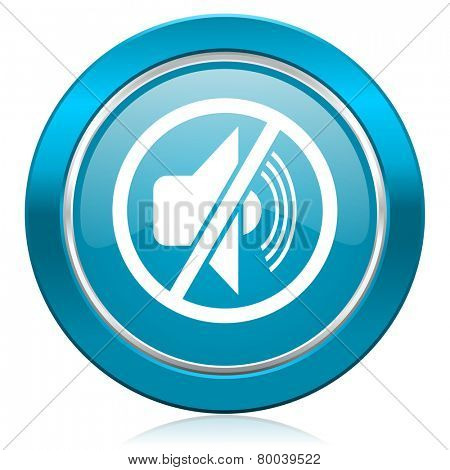 mute blue icon silence sign