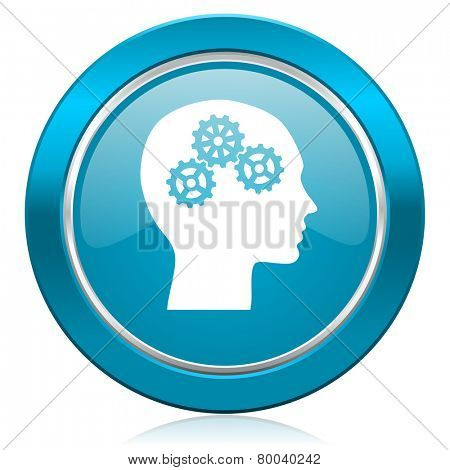 head blue icon human head sign