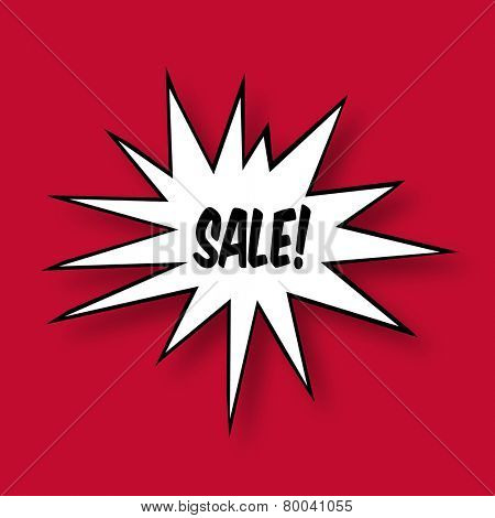 The word Sale in a Comic Book Star on red Background