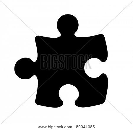Black Piece of Jigsaw Puzzle on white background