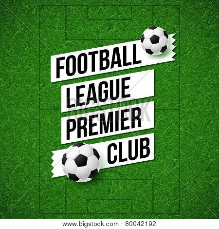 Soccer football poster. Soccer football field background with so