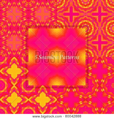 Set of mosaic abstract seamless patterns.