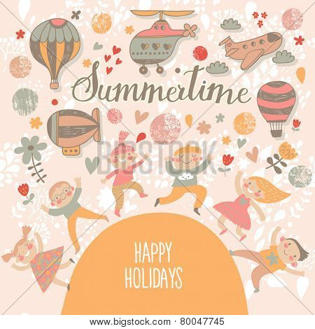 Summertime concept card. Travel concept background. Group of kids playing. Six funny kids in cartoon style. Bright childish card in vector. Cute kids jumping and having fun. Happy holidays background