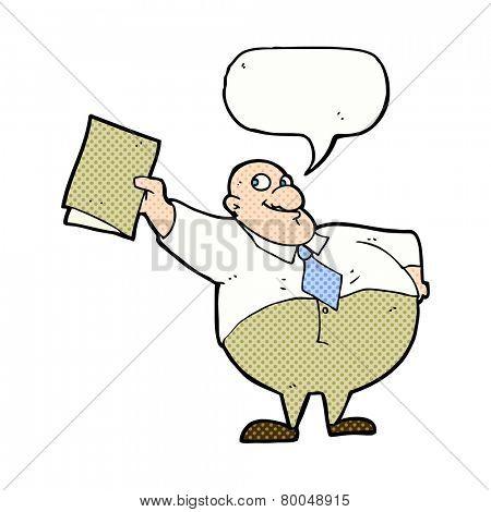 cartoon boss with file