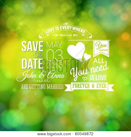 Save the date for personal holiday. Wedding invitation,