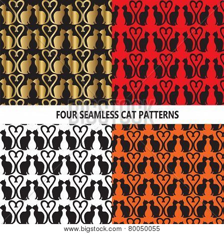4 Seamless Cat Patterns