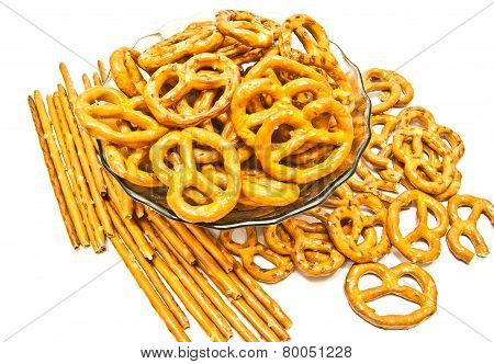Many Breadsticks And Pretzels Closeup