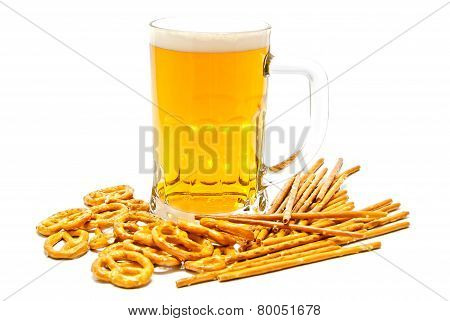 Breadsticks, Pretzels And Beer On White