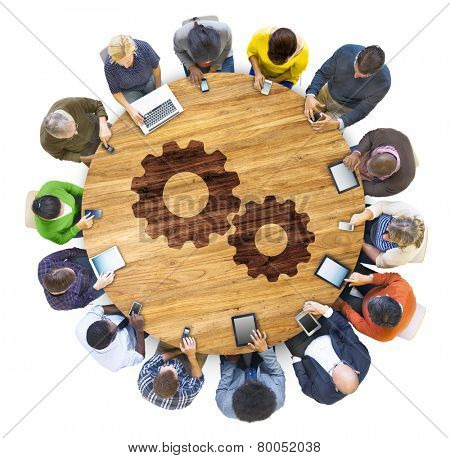 Cog Gear Business Support Cooperation Collaboration Aerial View Concept