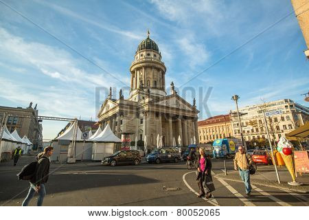 BERLIN, GERMANY - NOV 17, 2014: View of the French Cathedral (Franzosischer Dom) located in Berlin on the Gendarmenmarkt, built  from 1701 to 1705, reconstruction 1981 year.