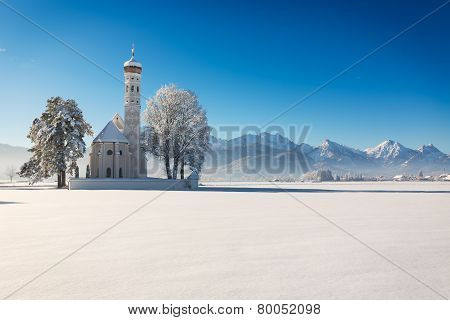 St. Coloman at a sunny winter day, Allgäu, Germany