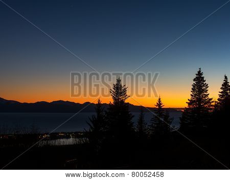 Last Color Of Sunset Over Homer Alaska