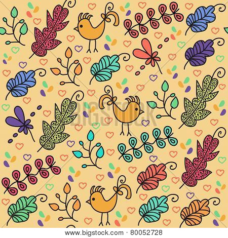Colorful Floral Seamless Pattern With Cute Birds And Seamless Pattern In Swatch Menu, Vector