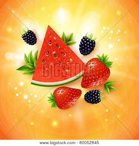 Abstract summer poster with watermelon, strawberry, blackberry a
