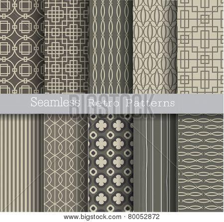 set seamless pattern retro.vector  illustration