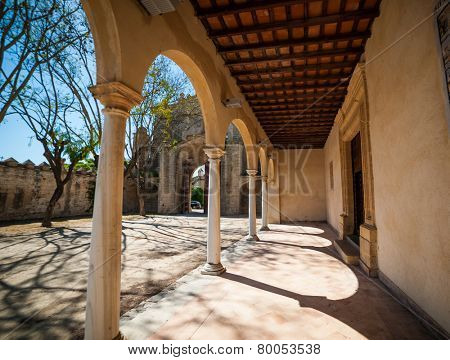 Jerez, Spain - May 02, 2014: Arch in Monastery Charterhouse of Jerez de la Frontera, Spain