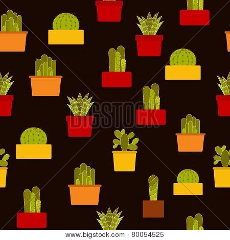 Vector seamless background with cactus