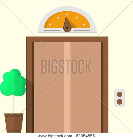 Flat vector icon for hotel. Closed elevator