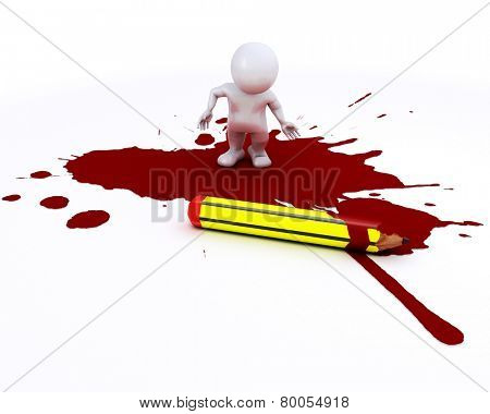 3D render of a cartoonist morph man with pencil and blood