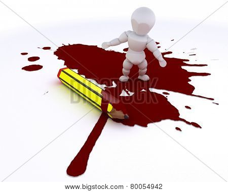 3D render of a cartoonist man with pencil and blood