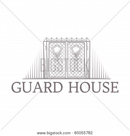 Vector illustration of forged gates icon with text