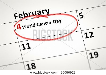 An image of a calendar detail shows february the 4th World Cancer Day