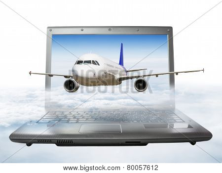 The Plane Takes Off From The Laptop Screen, Soaring In The Sky