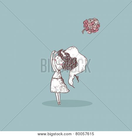 wedding set, bride tossing bouquet