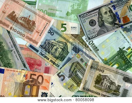 Background. Euro, Us Dollars And Belarus Rubles