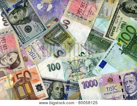 Background. Us Dollars, Euro And Czech Koruns