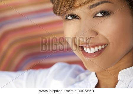Beautiful Mixed Race Woman With Perfect Teeth And Smile