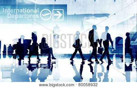 Business People Travel Departure Aiport Passenger Terminal Concept