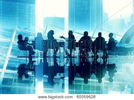 Business People Silhouette Working Meeting Conference Urban Scene