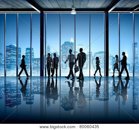 Busy Business People Silhouette Walking Company Office Building