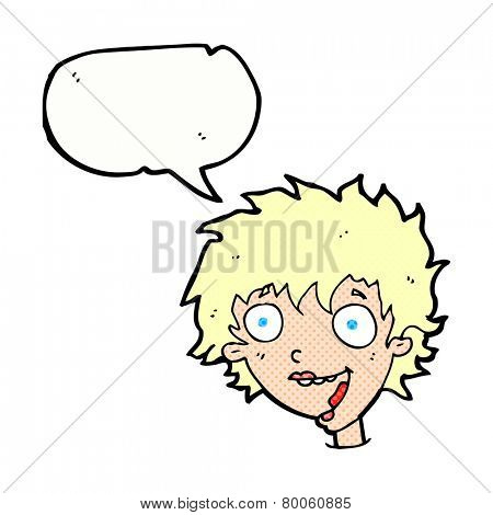 cartoon crazy excited woman with speech bubble