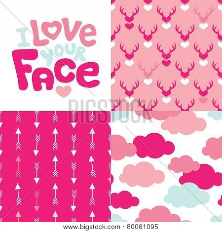 Seamless cupid clouds and adorable hearts deer background pattern and love message postcard cover design in vector