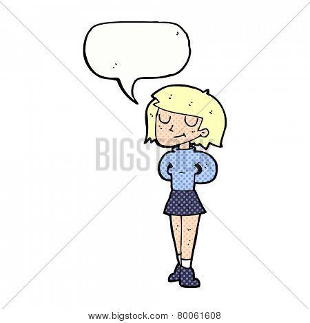 cartoon pleased woman with speech bubble