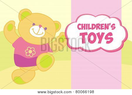 Vector banner with a teddy bear. Template for advertising children's store. Childrens toys.